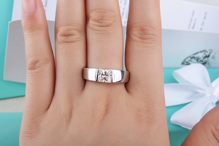 1 Ct Mens Wedding Band, Male Wide Band Ring, Unisex Anniversary Engagement Ring, Gift For Him, Square Man Made Diamond, Silver