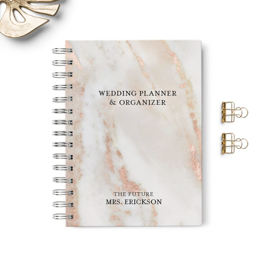Wedding Planner Book, Event Planning Organizer, 6x8.75, Unique Bride Gift, Budget, Seating Chart Checklists, To Do List, Blush Pink Marble