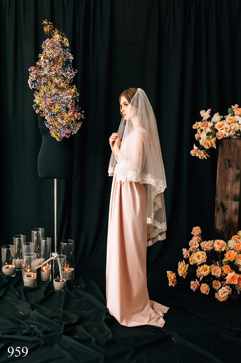 Wedding Veil Liana, Bridal Veil, , Cathedral Veil Tulle Cathedral Length, With Comb, One Tier