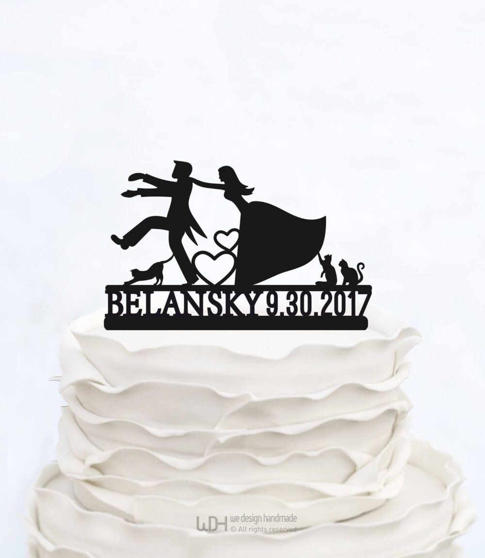Wedding Cake Topper With Date & Last Name Custom Three Cats Groom & Bride Unique Funny Cake Topper