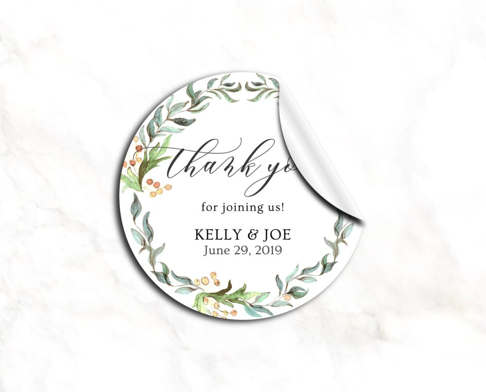 25 Personalized Thank You Wedding Favors Stickers, Bridal Shower Favor, Greenery Wreath Favor Labels, Favor Stickers   13