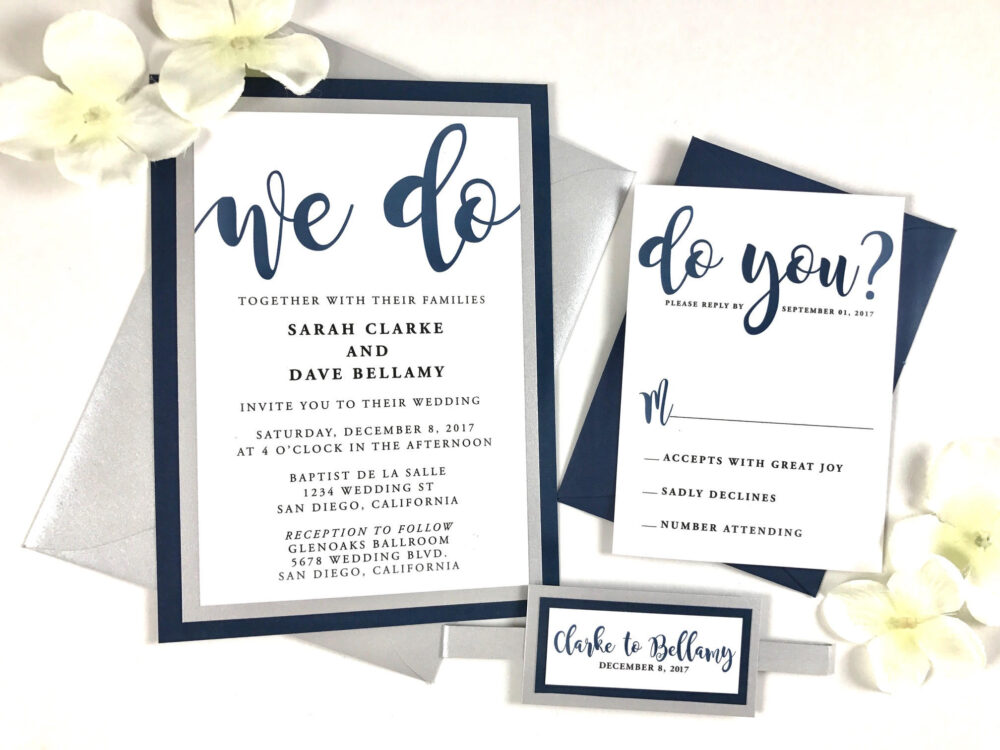 Blue & Silver Wedding Invites, Navy Invitation Bundle, Modern Beautiful Wedding, Belly Band Suite, Gray, We Do You