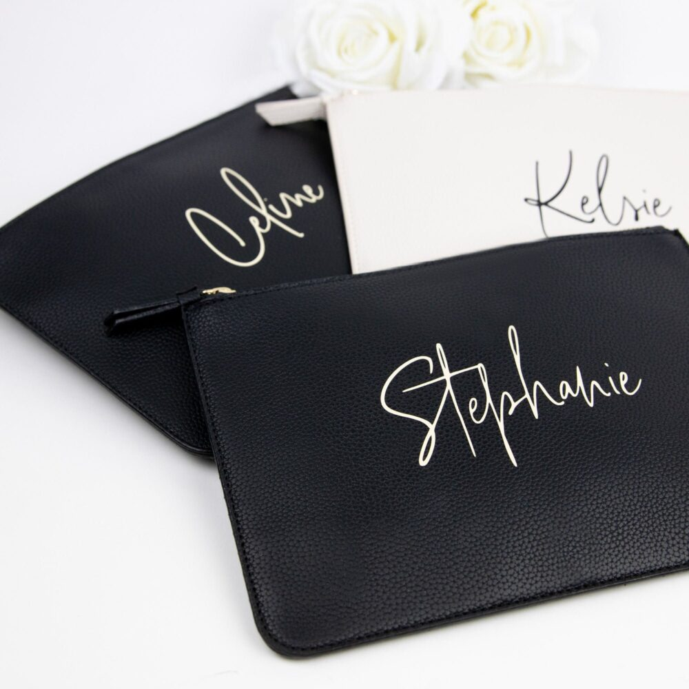 Handwritten Script Personalized Vegan Leather Clutch Bag - Custom Name Makeup Cosmetic Bridal Party Proposal Gift New Mom B-Cb05
