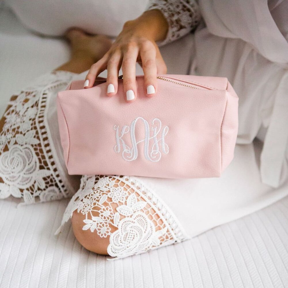 Monogrammed Make Up Bag | Monogram Cosmetic Travel Case Vegan Leather Makeup Gift For Her Bridesmaid Gifts Camille