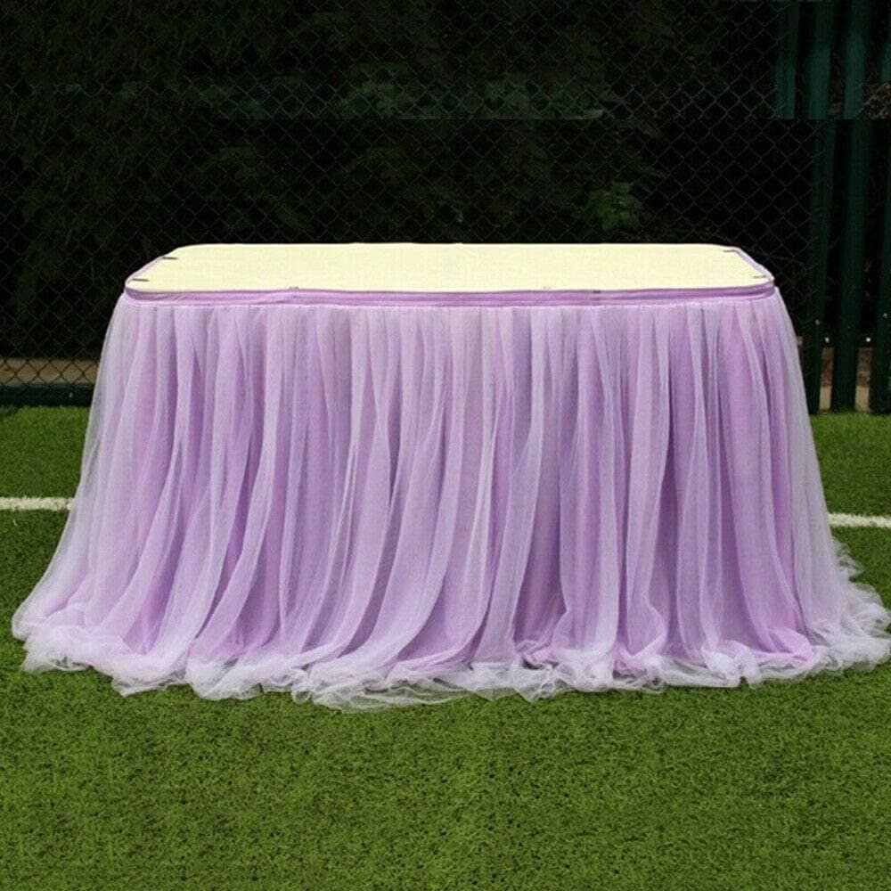 Elegant Romantic Gauze Tablecloth, Tulle Table Skirt Tableware Cloth Cover Party Supplies Fabric Decorations For Wedding Birthday(Purpl