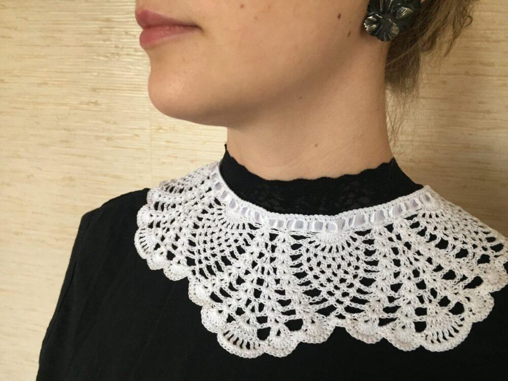 White Bridal Collar, Crochet Peter Pan White Lace Girl's Handmade Women's Necklace, Gift For Her