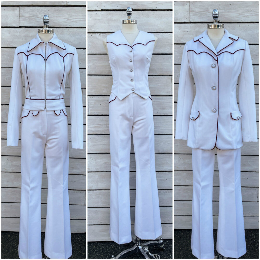 Size 2, 1950S Western Suit, White Womens Polyester Free Usa Shipping