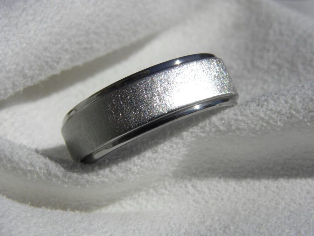 Wedding Ring, Band, Titanium Flat With Stepped Down Edges