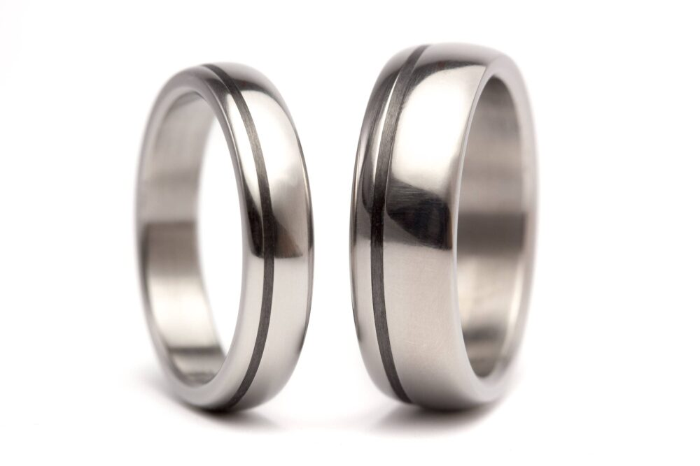 Titanium & Carbon Fiber Wedding Rings. Polished Rounded Titanium Bands. Black His Hers Rings | 00334 4N7N
