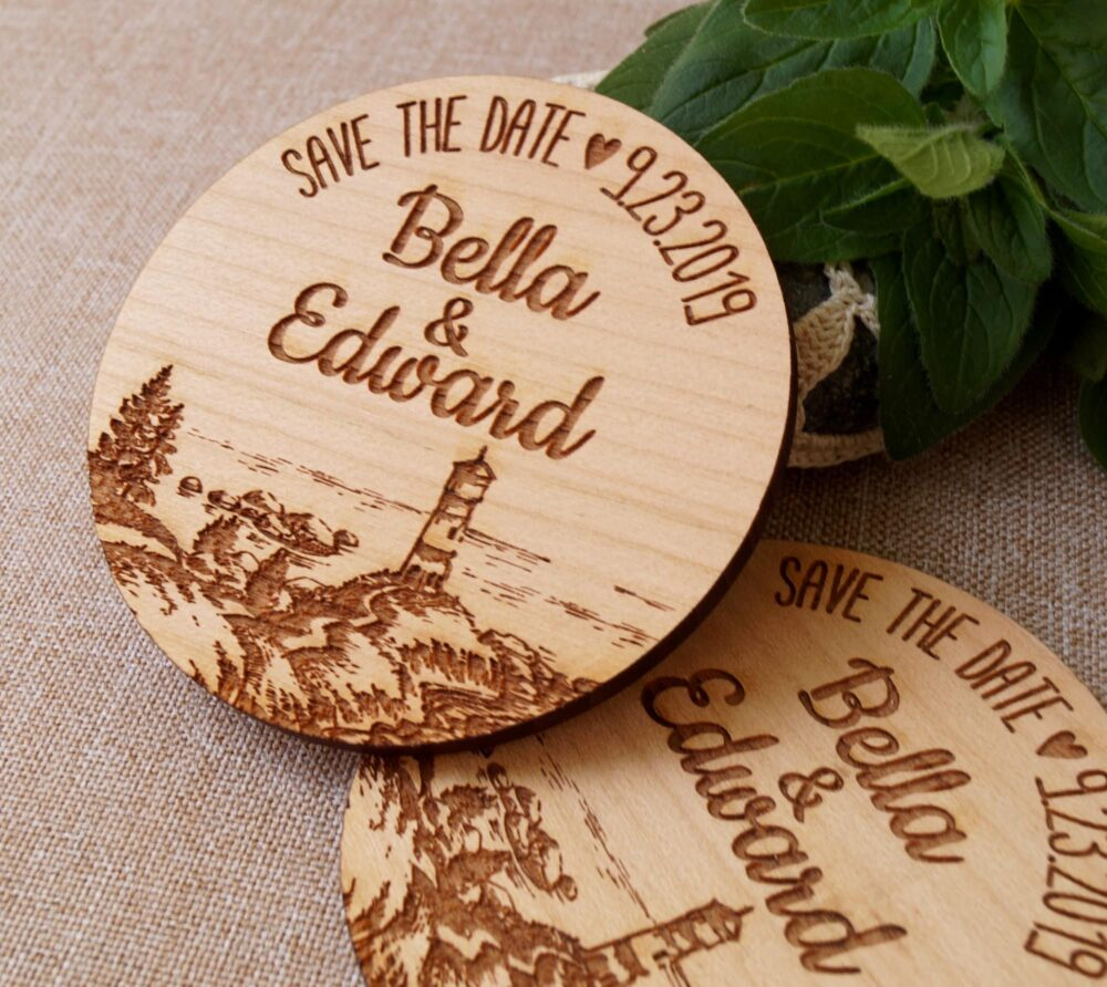 Save The Date, Save Date Magnet, Wedding Invitation, Wooden Magnets, Beech Nautical