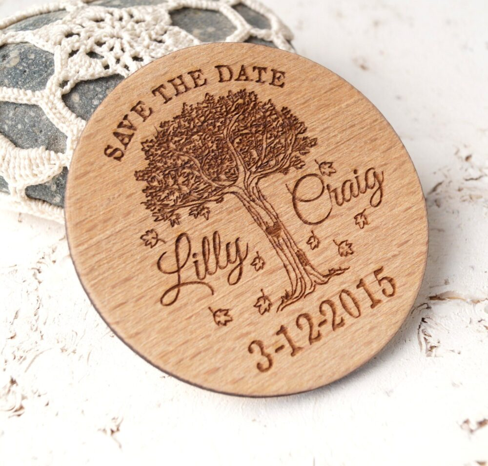 Save The Date Magnet, Wooden Save Date Magnets, Wedding Date, Personalized Laser Engraved Round Wood Dates, Set Of 25