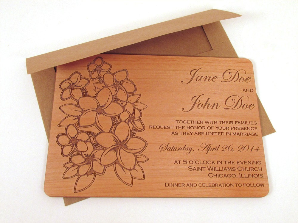 Flower Bouquet Wooden Wedding Invitation - Floral Real Wood Invite