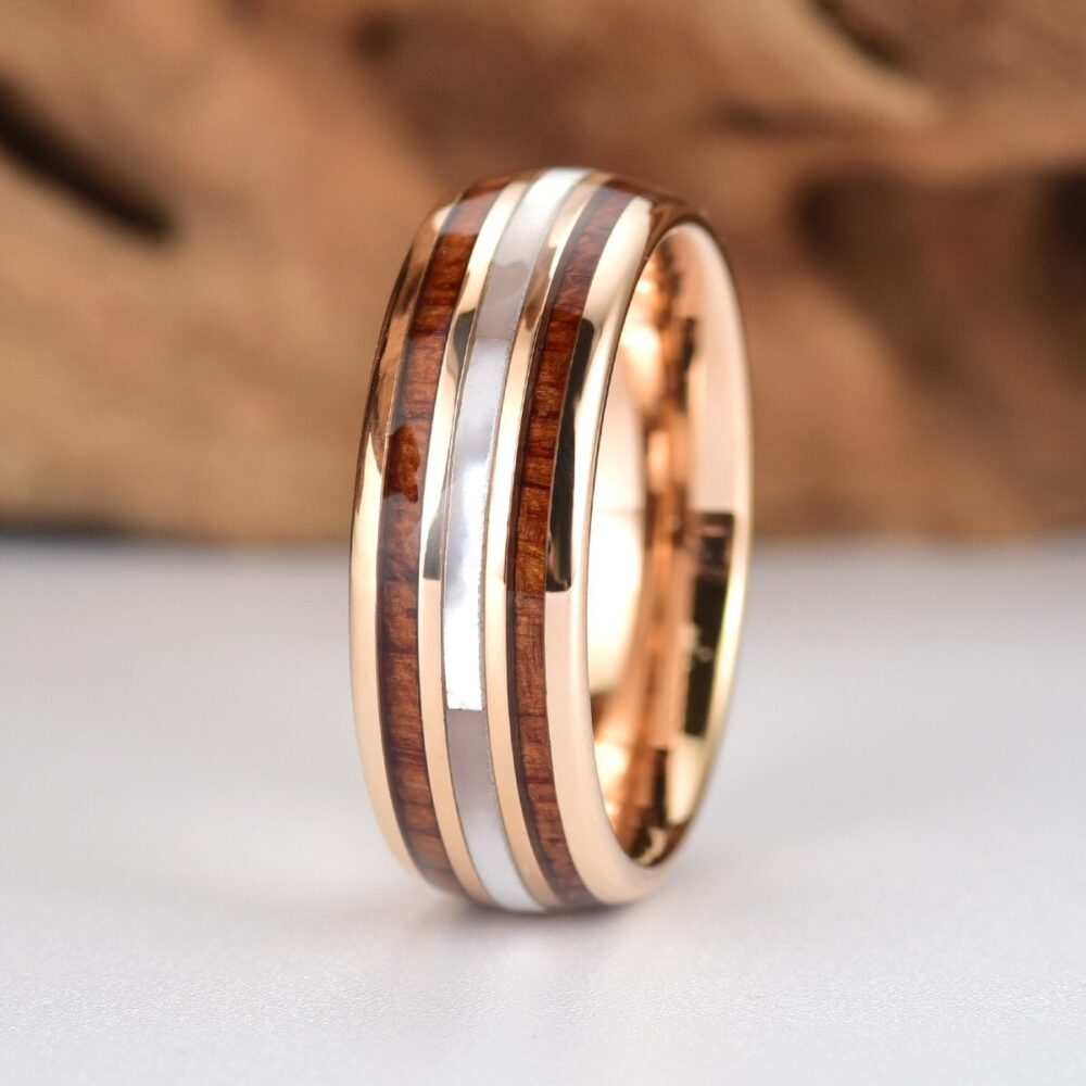 Mother Of Pearl Wedding Ring | Koa Wood Tungsten Rose Band Of