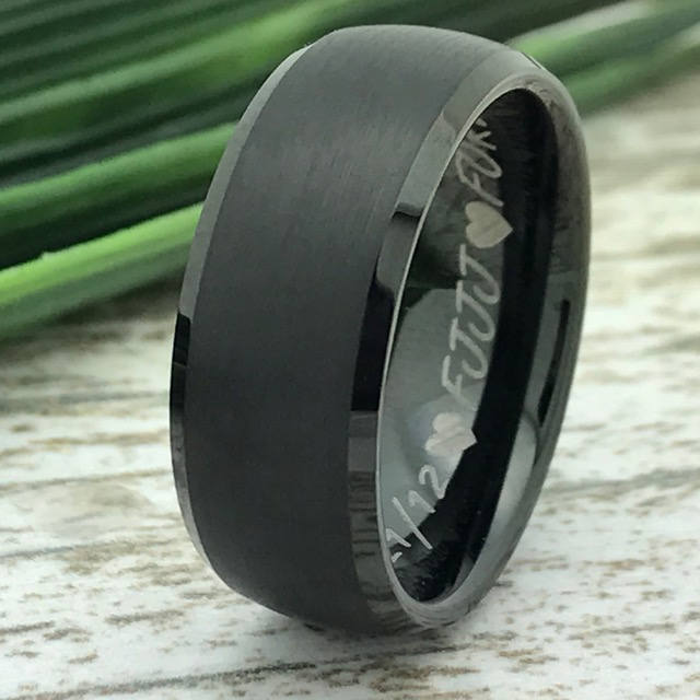 Black Tungsten Wedding Ring, Personalize Brushed Finish Ring Band, Promise For Him, Comfort Fitm Classic Dome