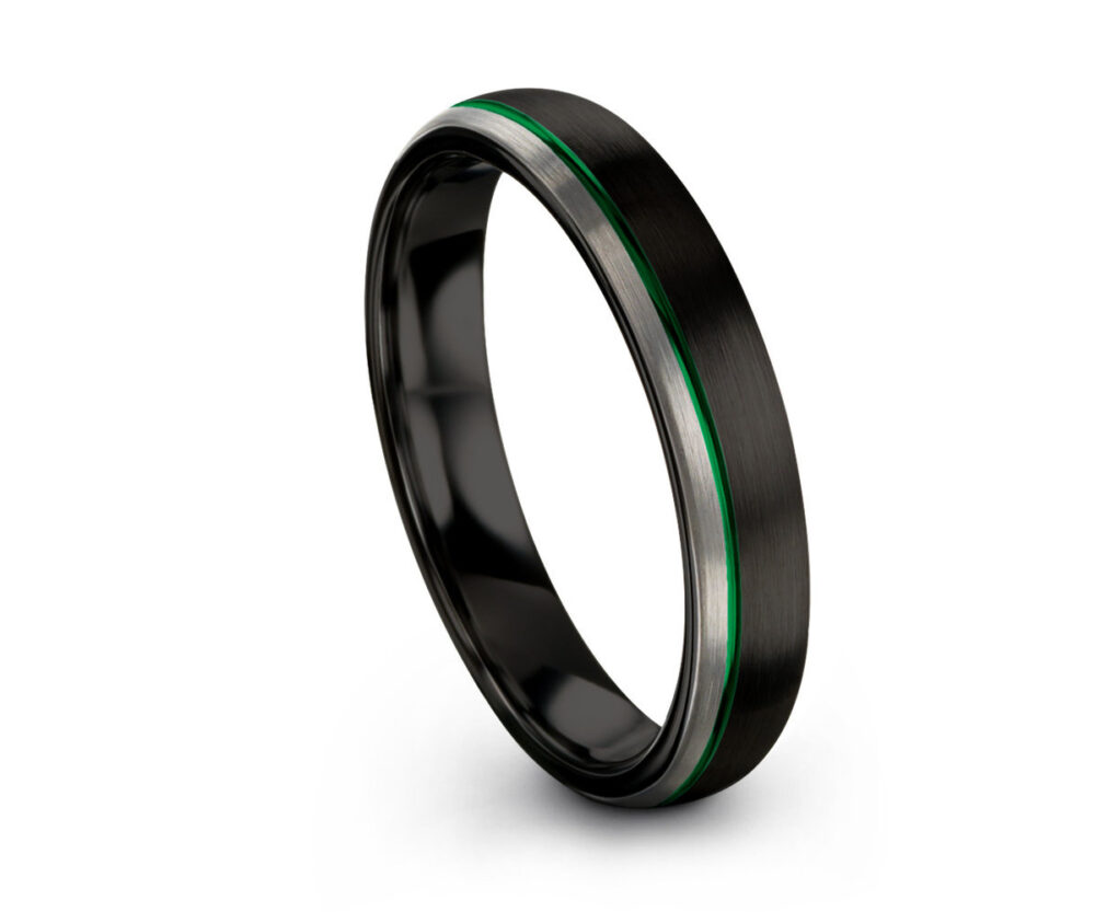 Unique Unisex Wedding Band With Green Offset Line   Brushed Two Tone Black Silver Tungsten Ring Wedding, Engagement, Promise, Gift