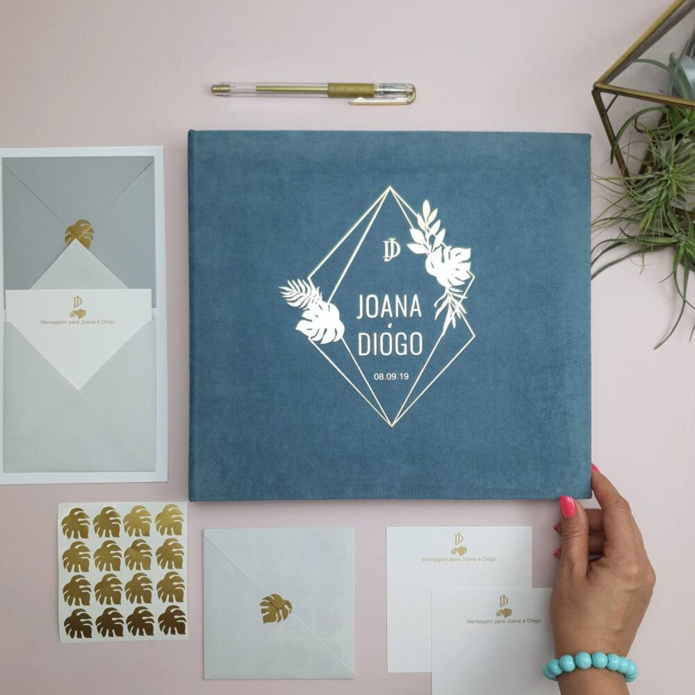 Geometric Tropic Wedding Envelope Guest Book With Wishes & Advice Cards For Instax Pictures, Orginal Guest Ideas, Advice