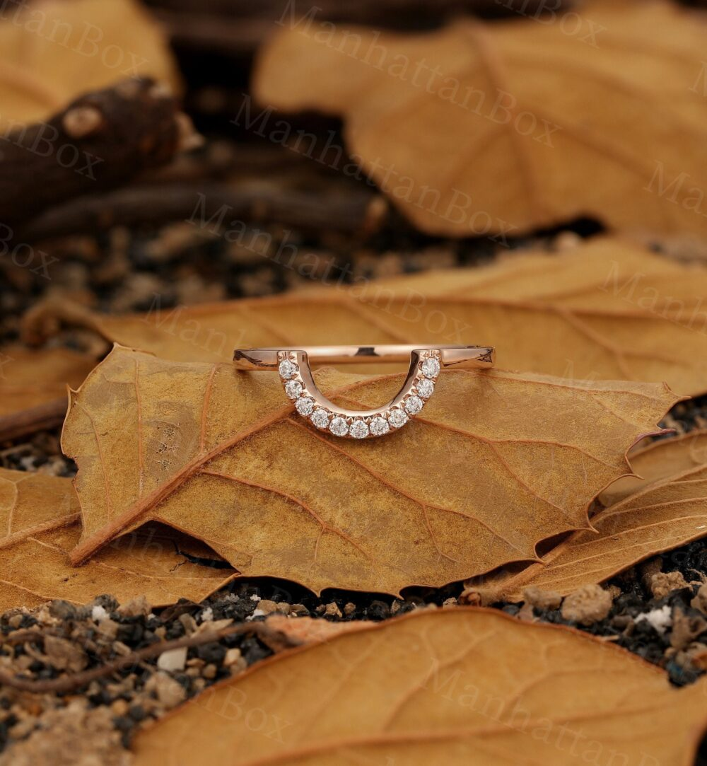 Round Cut Moissanite Wedding Band Rose Gold Band  Delicate Diamond Stacking Ring  Matching Band  Unique Curved Bridal Anniversary