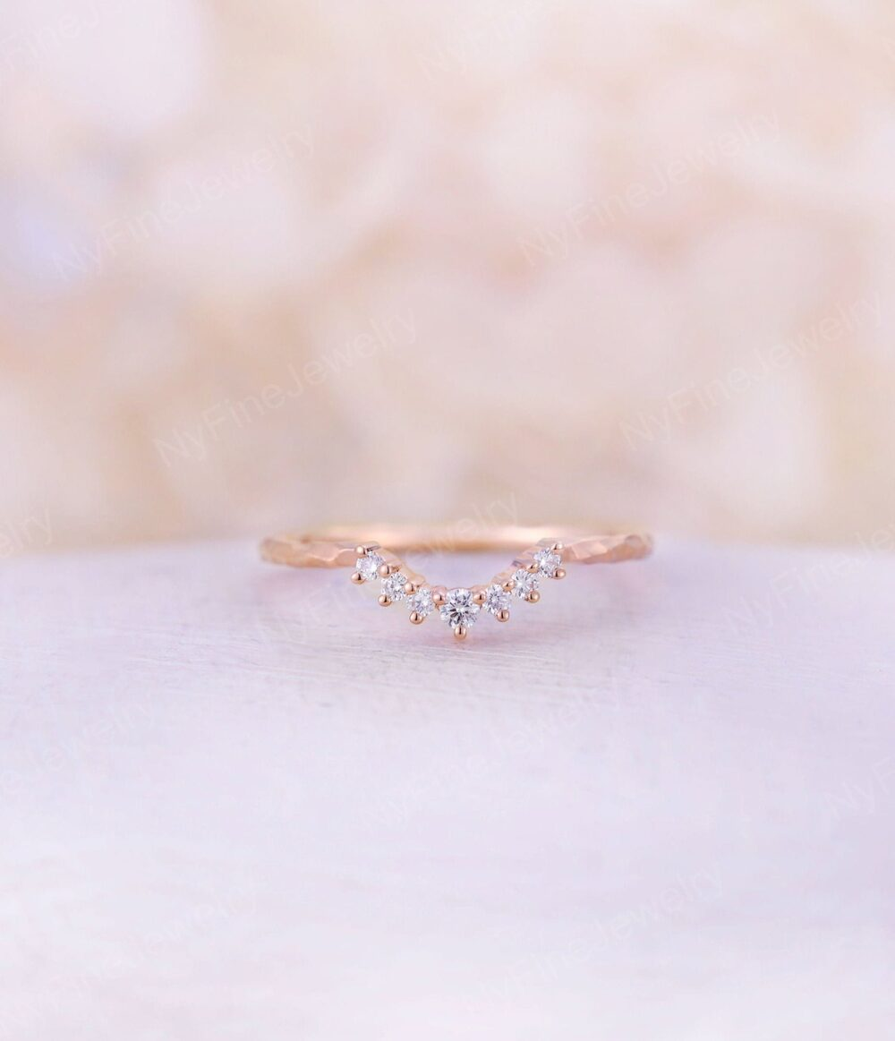 Curved Wedding Band Vintage Hammered Rose Gold Diamond Ring Unique Bridal Stacking Delicate Matching Band Promise Anniversary