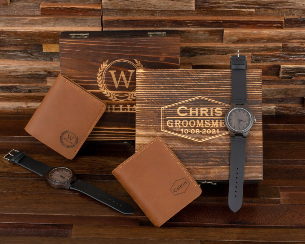 Personalized Leather Wallet & Wooden Watch With Wood Gift Box, Groomsmen Gifts, Best Man Gift, Groom Boyfriend