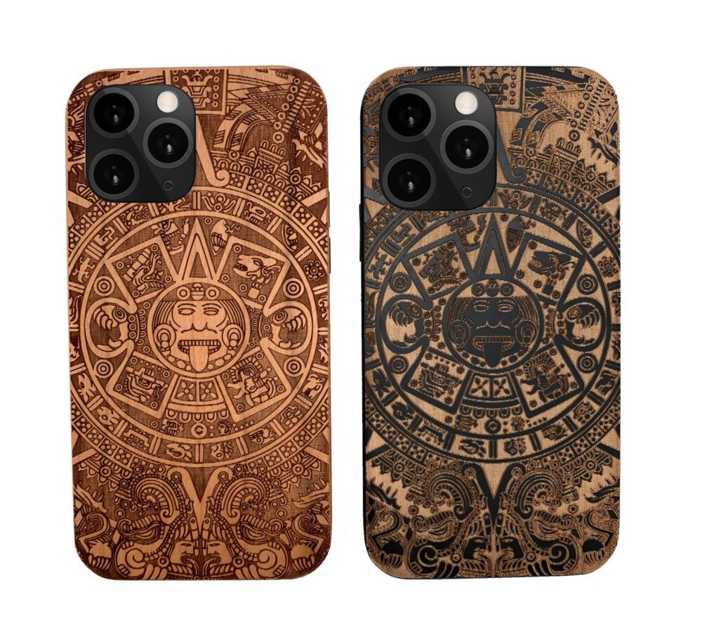 Aztec Mayan Calendar Wooden Iphone Case, Phone Case Samsung 5 6 7 8 Plus X Xr Xsmax Xs Max 11 Pro Best Gift For Couples