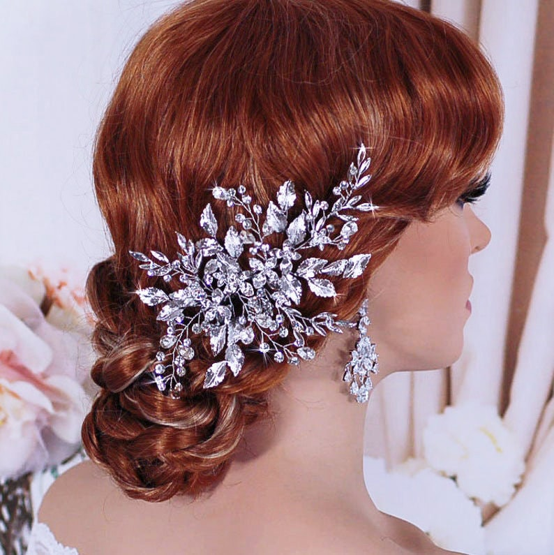 Wedding Headpiece Bridal Hair Clip Party Crystal Jewelry Silver Brides Accessories Head Piece Hairpiece Gift Weddings Floral Comb Accessory