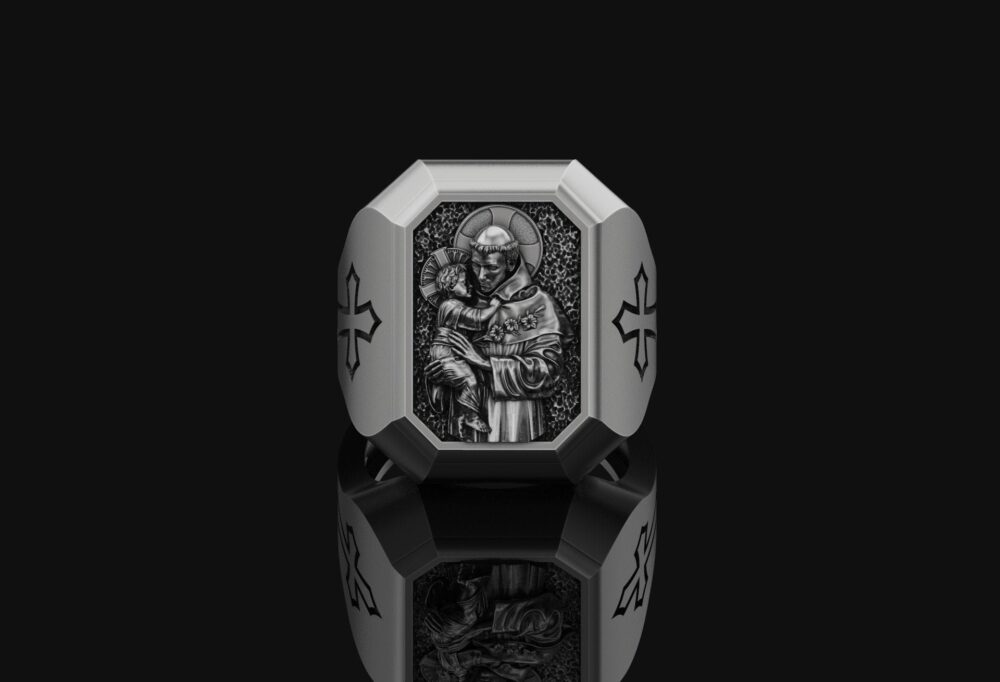 St Anthony Silver Christian Ring Catholic Gift Religious Accessory Oxidized 925 Sterling Father's Day For Husband Unisex