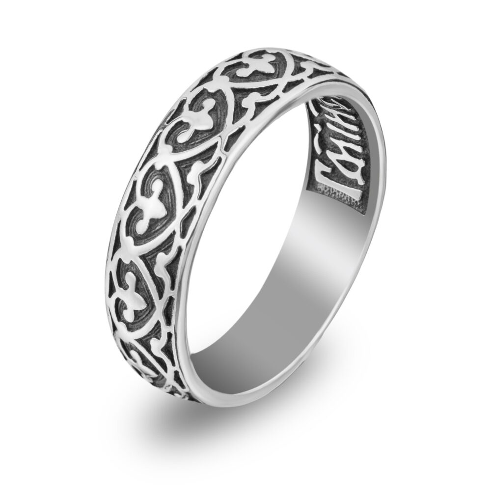 Fleur De Lis Sterling Silver Band Ring Christian Wedding Band Rings With Engraved Protecting Prayer Sorority Gift Russian Religious Jewelry