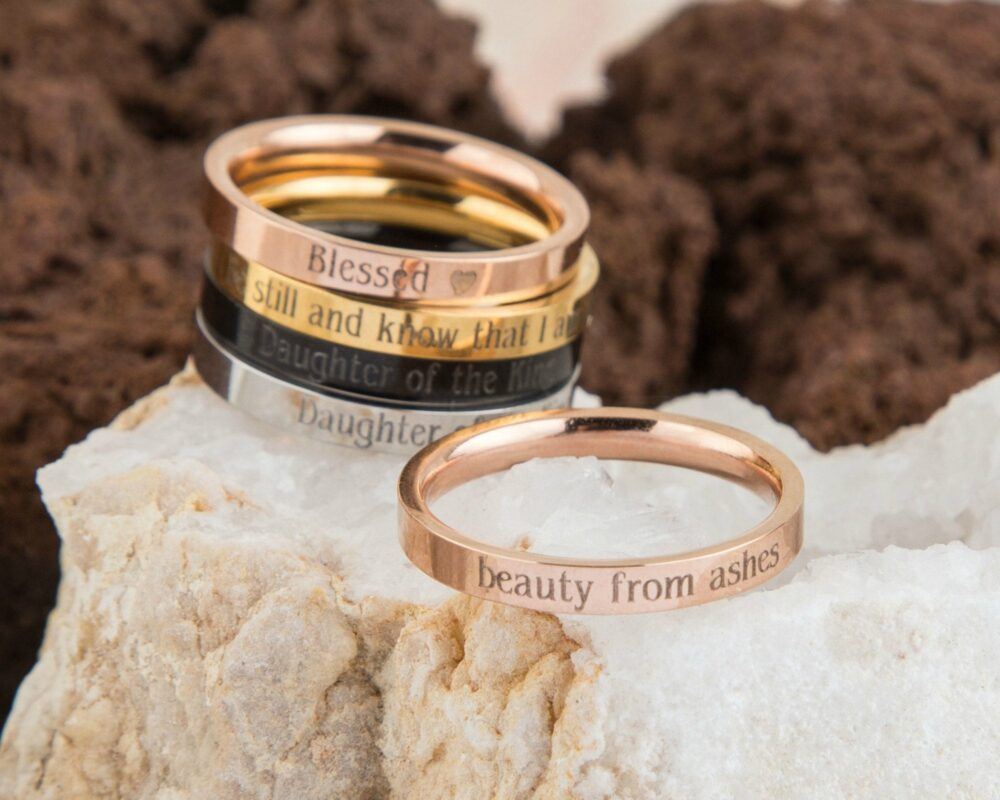 Beauty From Ashes Christian Ring, Isaiah 613 Religious Message Engraved Christian, Encouragement, Grief Ring Jewelry
