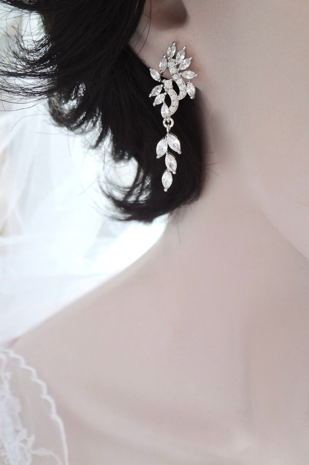 Wedding Earrings, Cz Dangle Leaf Vine Earrings For A Bride, Mother Of The Bridesmaids Jewelry Gift Her Wife. Lilly