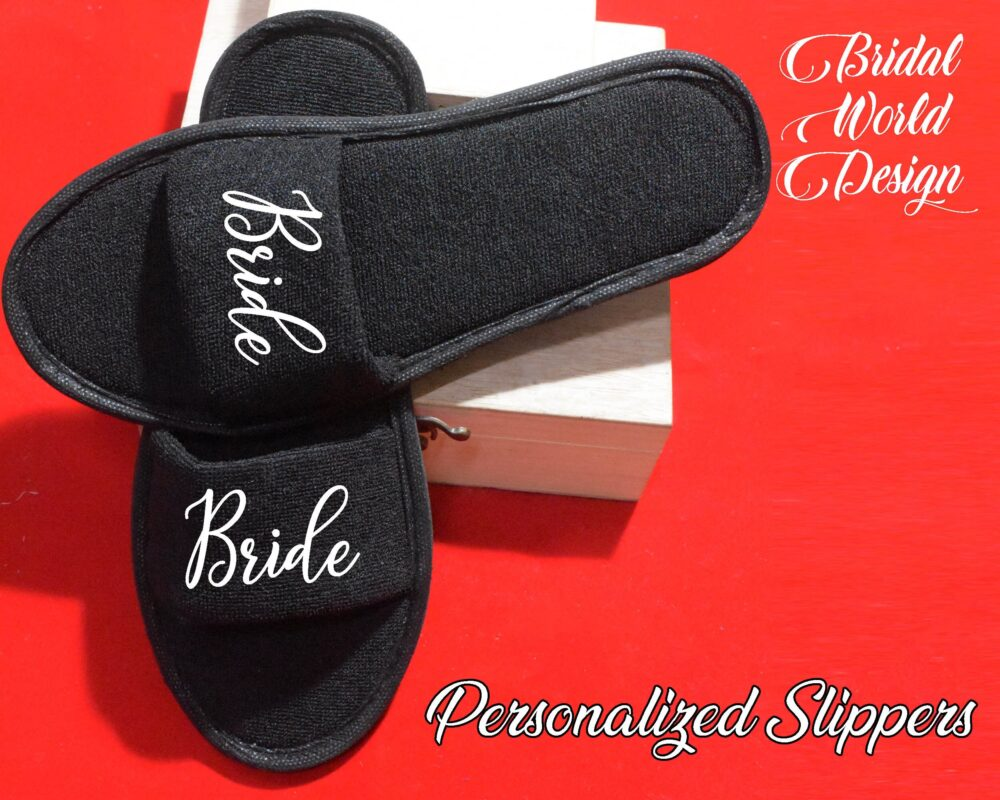 Open Toe Black Slippers Customized House Wear Bride Bridesmaid Gift For Her Wedding
