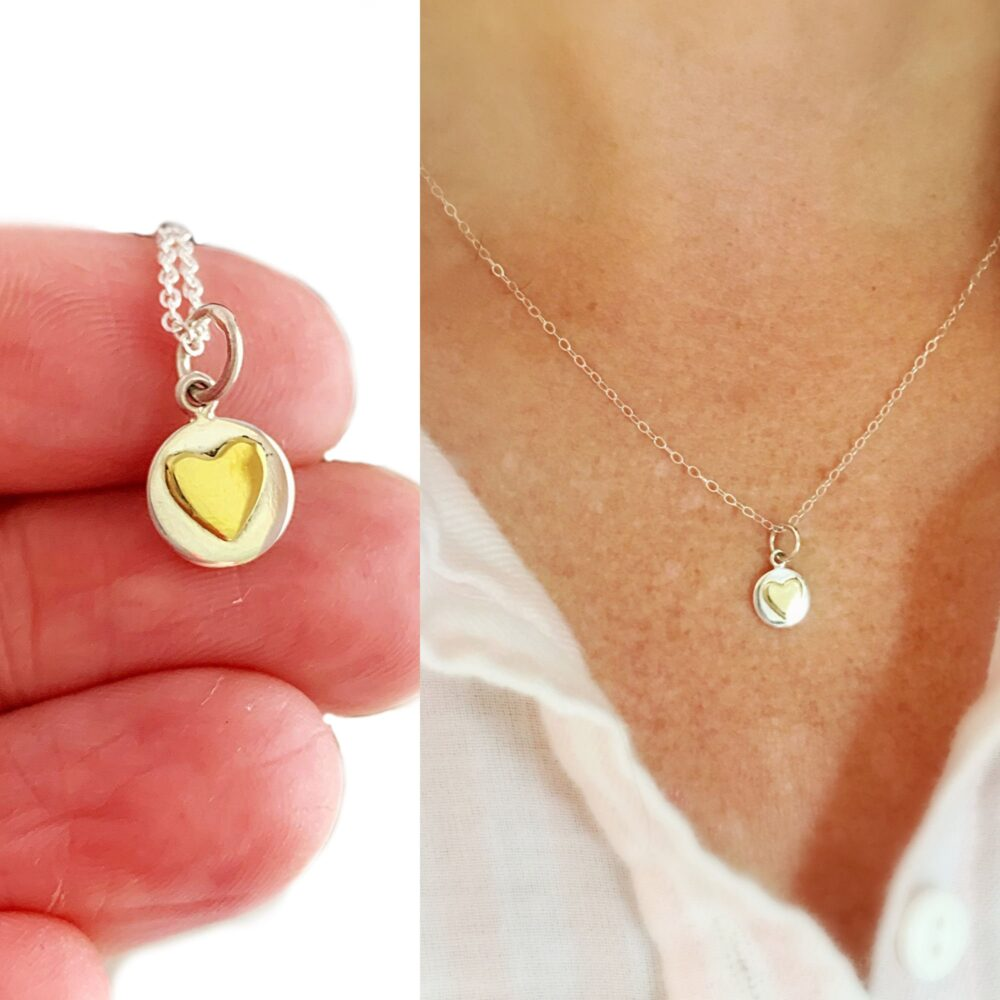 Tiny Heart Necklace - Dainty Bronze & Sterling Silver Charm Necklace, Rustic Wedding Jewelry, Minimalist