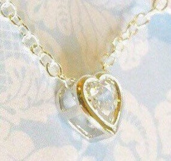 Tiny Heart Necklace, Cz Bezel, Fine Silver, , Gold Or Rose Gold Settings, Sparkling Cubic Zirconia, Girls Jewelry, Wedding Accessories