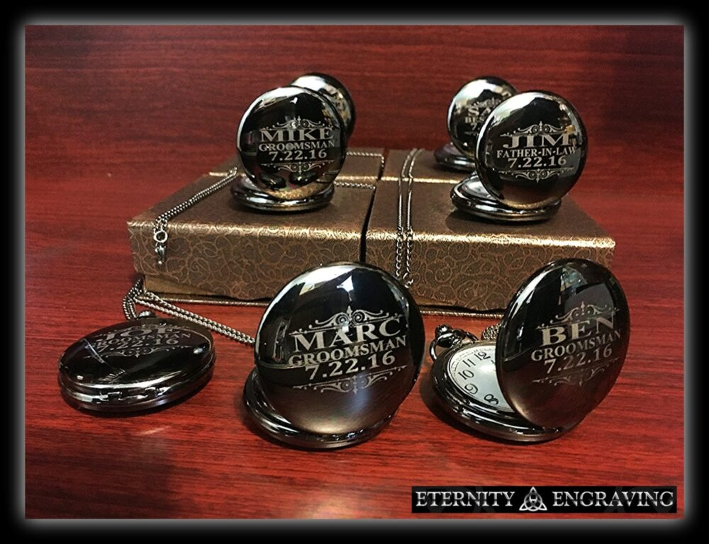 7 Personalized Groomsmen Gifts - Laser Engraved Pocket Watches Silver Finish Gift Wedding