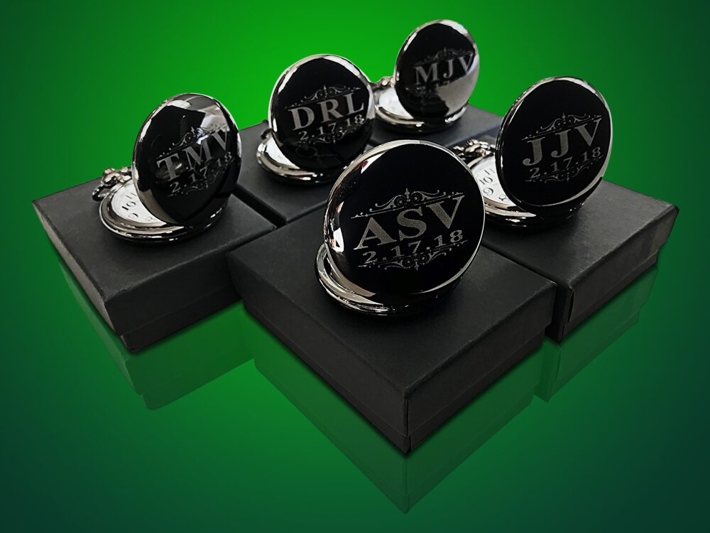 Groomsmen Gift - 5 Black Engraved Pocket Watches Personalized Watch in Box Custom Gifts Wedding Set Of