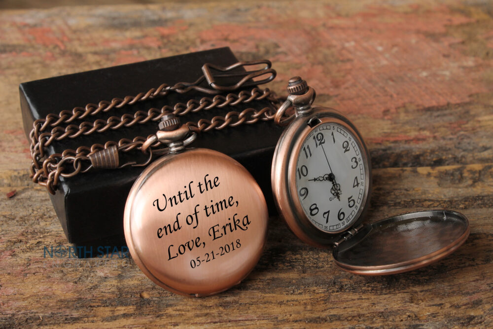 Anniversary Gifts For Men, Mens Pocket Watch, Engraved 1st Gifts, Personalized Watch With Chain