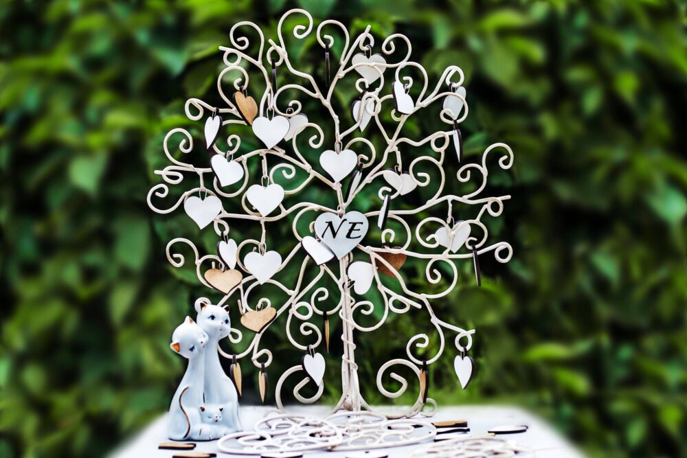 """Wedding Metal Guest Book """"Love Tree"""" With Wooden Hearts, Handmade, Steel Wire, Unique Product"""
