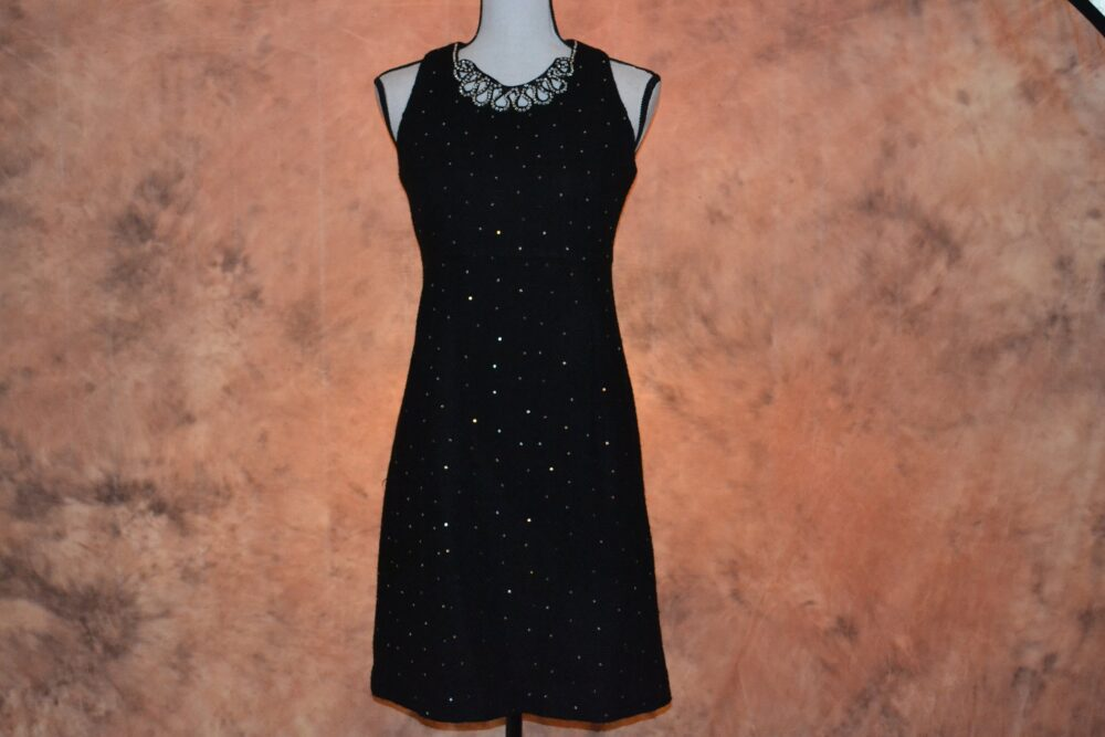 Women's Pure Wool Dress Vintage Black Formal Shift Sequins & Rhinestones Tapered Fit Fully Lined Sleeveless Winter Sheath