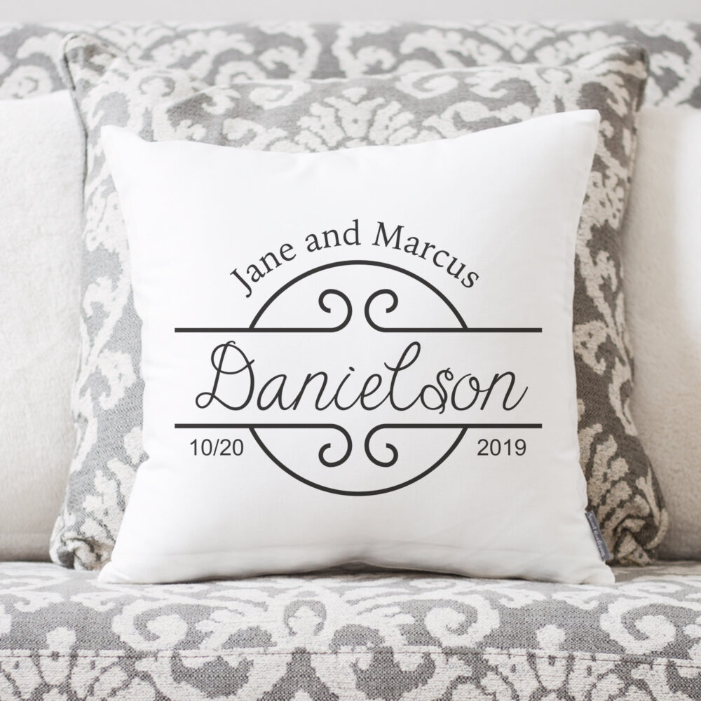 Wedding Gift   Gifts Personalized Pillow Newlywed Engagement Rustic For Bride Linen