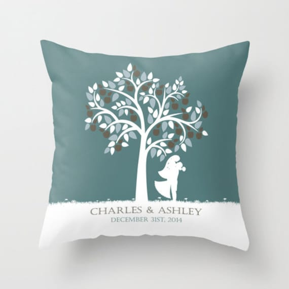 Wedding Pillow Personalized Custom Throw Cover Decorative Gift Newlywed Bridal Shower Engagement