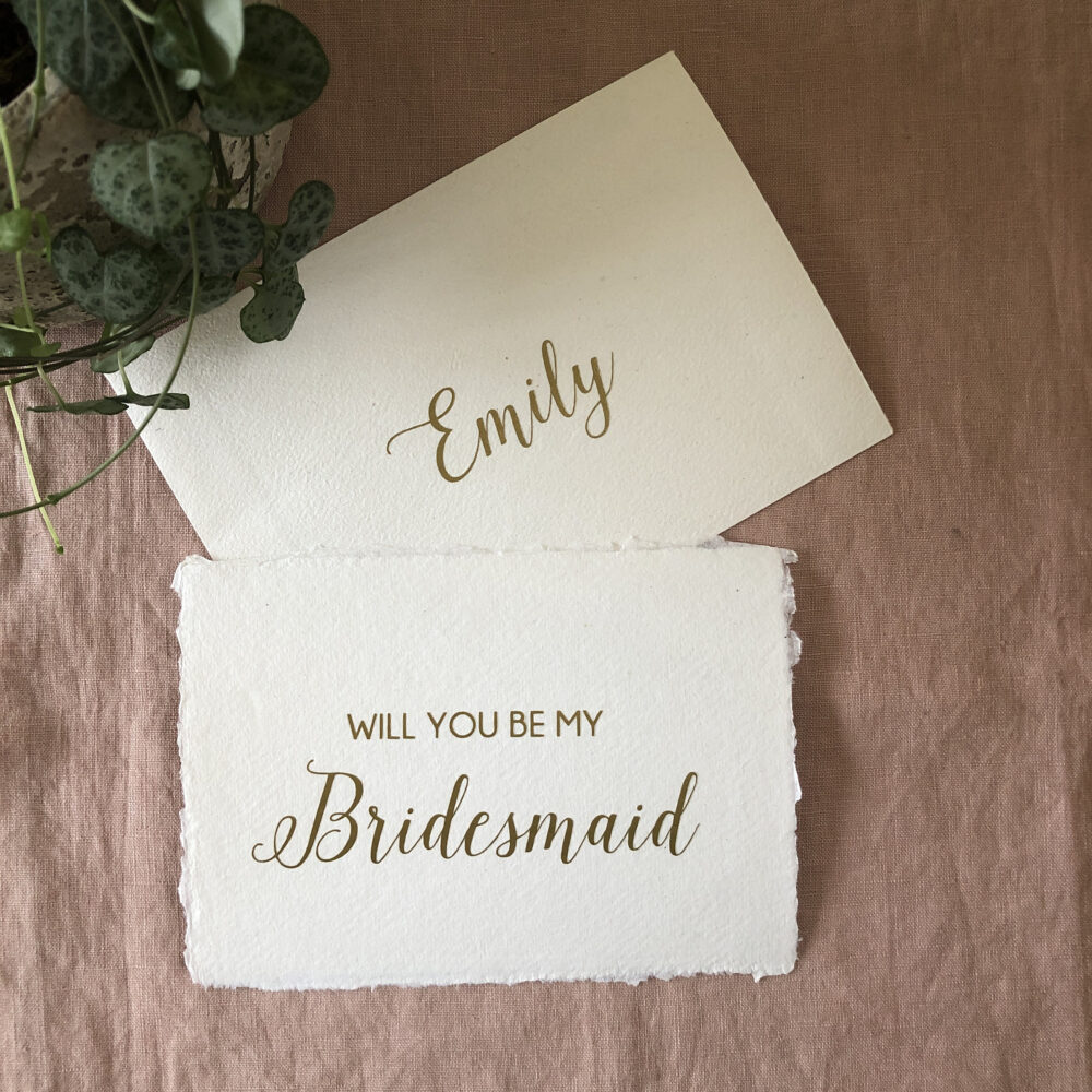 Personalised Bridesmaid Proposal Card, Will You Be My Recycled Handmade Paper Card With Envelope, Eco Weddings