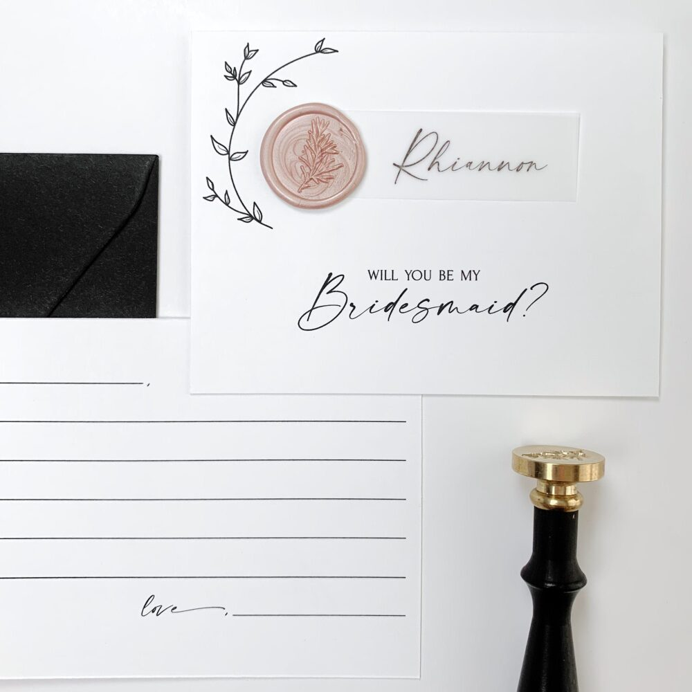 """Bridesmaid Proposal Card   """"Will You Be My Bridesmaid"""" Cards, Custom Floral Postcard With Vellum & Wax Seal To Ask Gifts"""