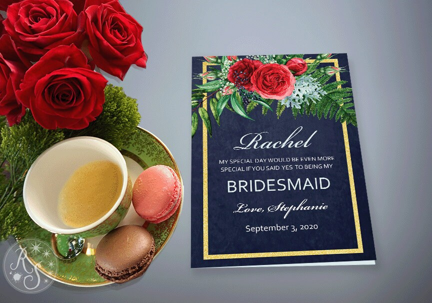 Bridesmaid Proposal Card, Winter Wedding Theme, Gold Red Dark Blue With Rose Flowers