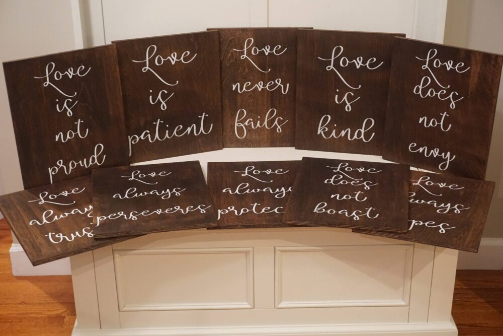 1 Corinthians 13 Wedding Aisle Signs. Love Is Patient Is Kind Rustic Decor. Wood Markers