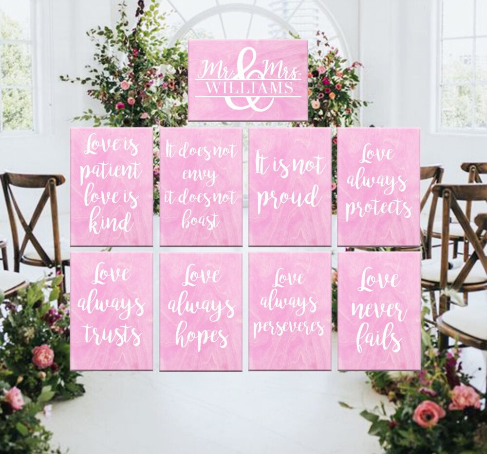 Personalized Wedding Signs, 1 Corinthians 13, Love Is Patient Love Is Kind, Rustic Wedding, Ceremony Decor, Aisle Signs, Set Of 9 11 13