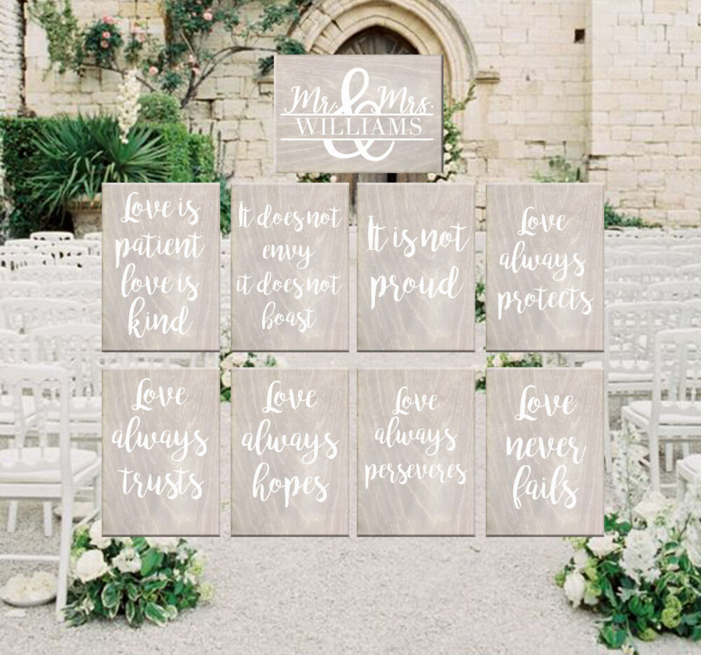 Personalized Wooden Wedding Signs, 1 Corinthians 13, Love Is Patient Love Is Kind, Rustic Wedding, Aisle Signs, Set Of 9 11 13