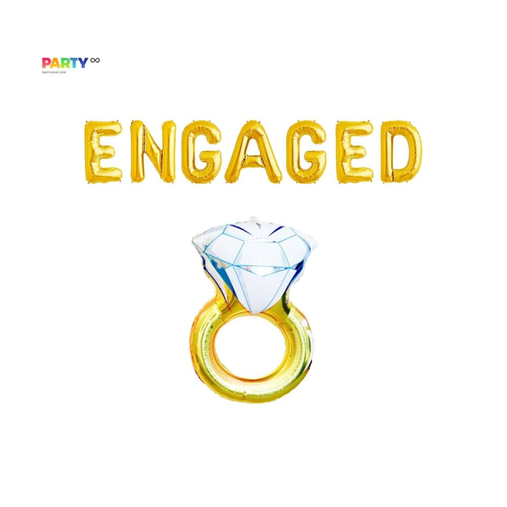 """Engagement Party Decorations   """"Engaged"""" With Diamond Ring Set Engaged"""