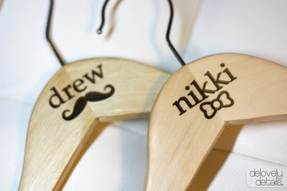 Customized/Personalized Bow & Mustache Standard Hanger Set For Bride's Wedding Dress Groom's Tux/Suit - Wooden