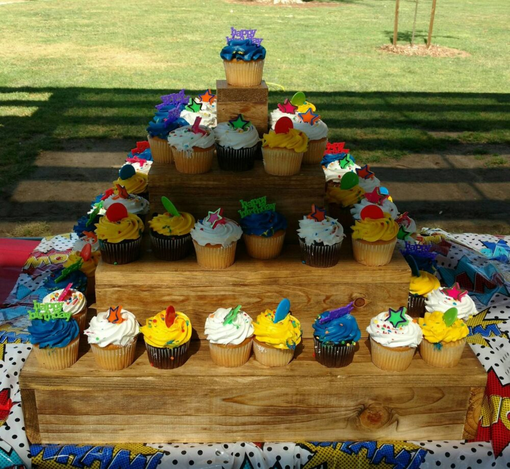 Rustic Wood Cupcake Stand - 4 Tiered Holder- Wedding Party Decoration Dessert Table Display Appetizer