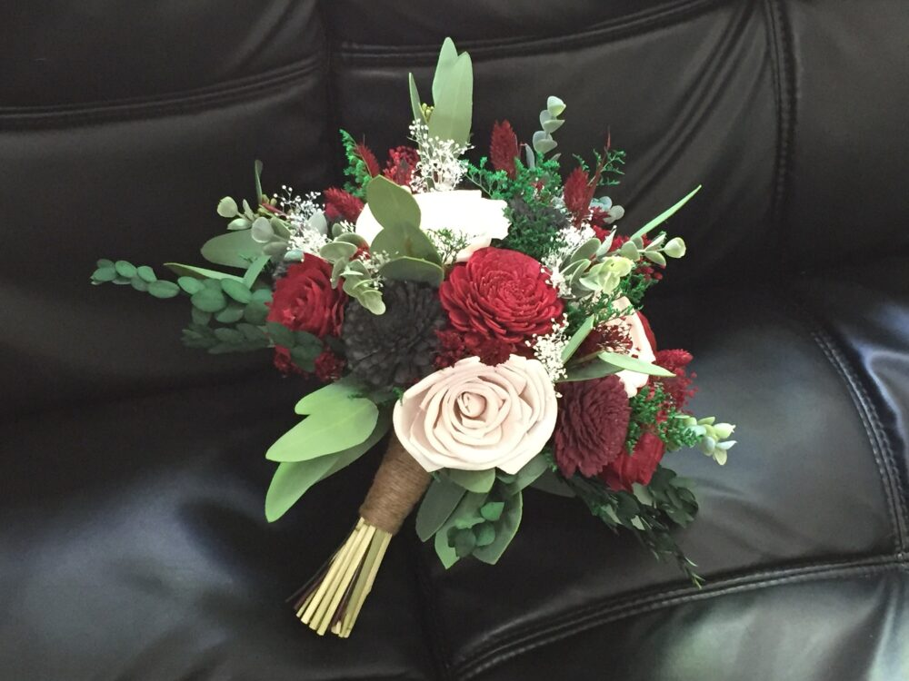 Red, Black, Blush Wedding Bouquet Made With Sola Flowers - Choose Your Colors Custom Alternative Bridal Bouquet Bridesmaids
