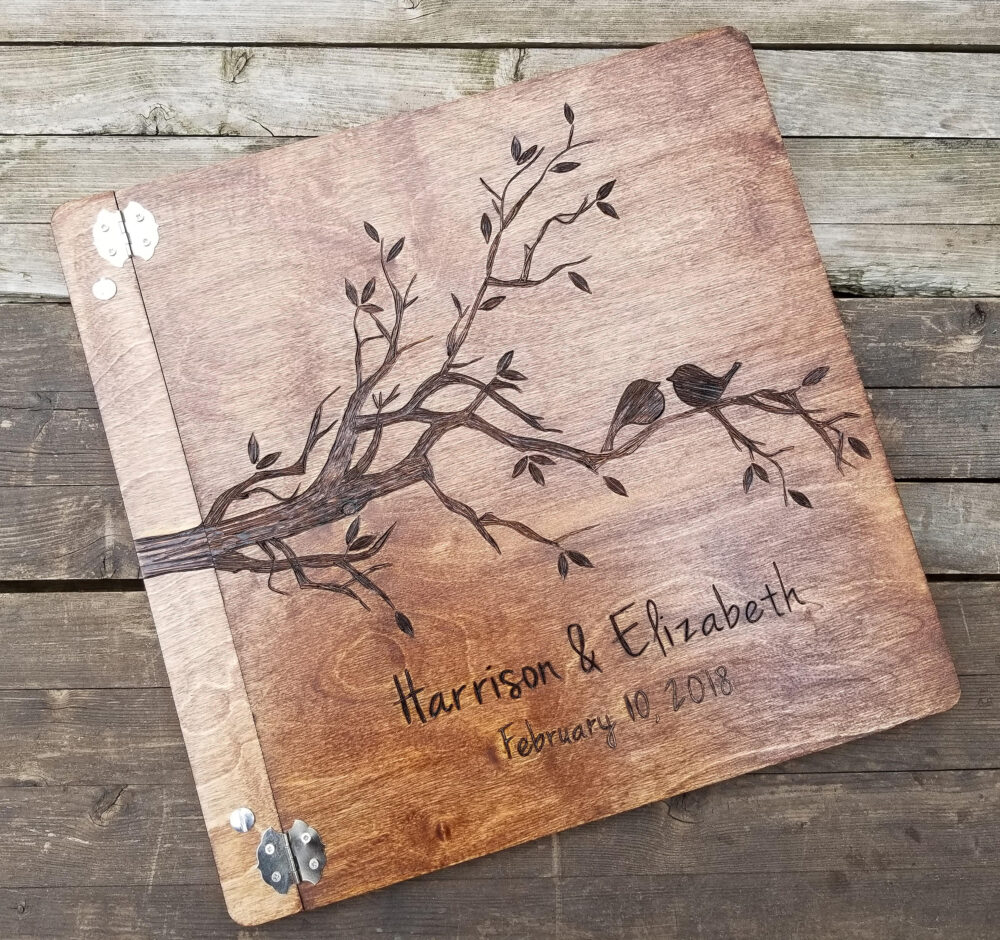 Large Wedding Guest Book, Love Birds Design, Wooden Personalized Photo Advice For The Bride, Alternative Guestbook